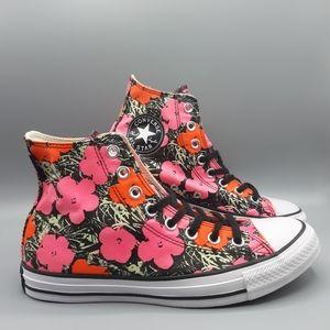 New Converse Andy Warhol Hi Top Poppy Flowers GLOW
